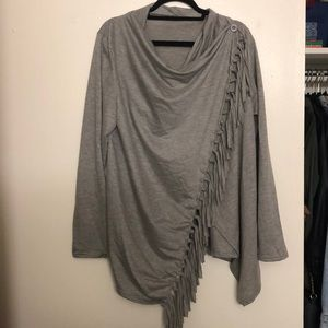 Tops - Grey wrap long sleeve with tassels